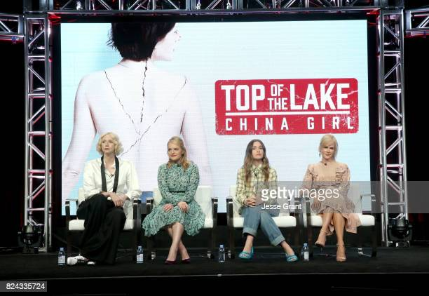 Actors Gwendoline Christie Elisabeth Moss Alice Englert and Nicole Kidman of 'Top of the Lake China Girl'' speak onstage during the Sundance TV...