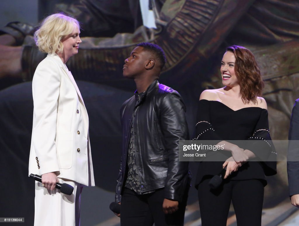 Actors Gwendoline Christie, John Boyega and Daisy Ridley of