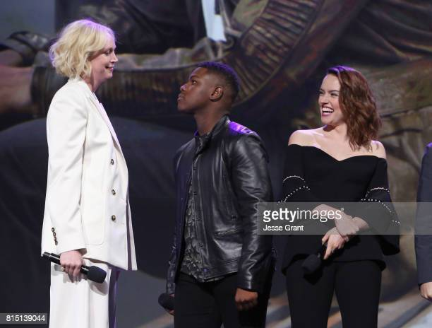 Actors Gwendoline Christie John Boyega and Daisy Ridley of STAR WARS THE LAST JEDI took part today in the Walt Disney Studios live action...
