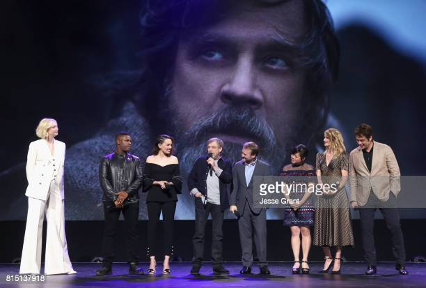 Actors Gwendoline Christie John Boyega Daisy Ridley Mark Hamill Director Rian Johnson actors Kelly Marie Tran Laura Dern and Benicio del Toro of STAR...
