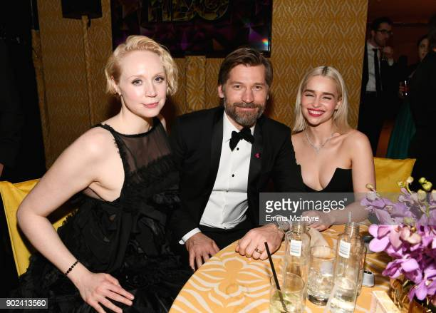Actors Gwendoline Christie Nikolaj CosterWaldau and Emilia Clarke attend HBO's Official Golden Globe Awards After Party at Circa 55 Restaurant on...