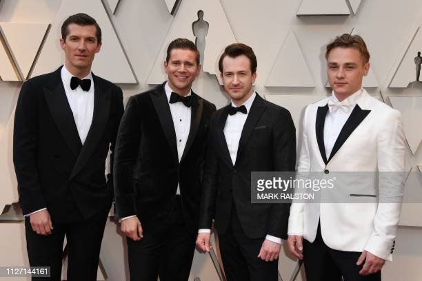 Actors Gwilym Lee Allen Leech Joseph Mazzello and Ben Hardy arrive for the 91st Annual Academy Awards at the Dolby Theatre in Hollywood California on...