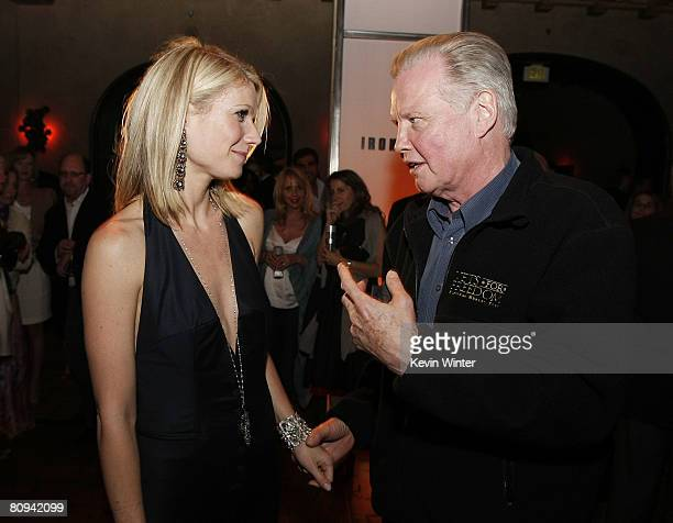 Actors Gwyneth Paltrow and Jon Voight talk at the afterparty for the premiere of Paramount's 'Iron Man' at the Roosevelt Hotel on April 30 2008 in...