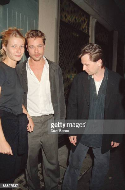 Actors Gwyneth Paltrow Brad Pitt and Gary Oldman at the Ivy restaurant in London 14th August 1995