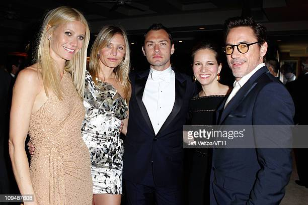 Actors Gwyneth Paltrow, Cameron Diaz, Jude Law, producer Susan Downey and actor Robert Downey Jr. Attend the 2011 Vanity Fair Oscar Party Hosted by...