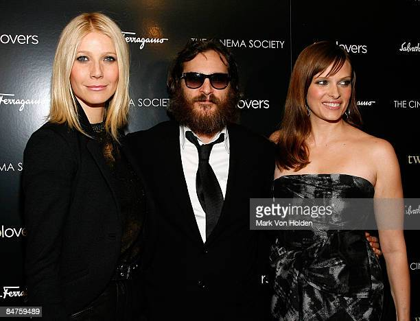 Actors Gwyneth Paltrow Joaquin Phoenix and Vinessa Shaw attend the Cinema Society and Salvatore Ferragamo screening of Two Lovers at the Landmark...
