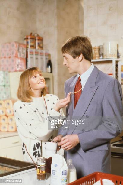 Actors Gwyneth Strong and Nicholas Lyndhurst in a kitchen scene from episode 'He Ain't Heavy He's My Uncle' of the BBC Television sitcom 'Only Fools...