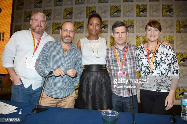 "Actors H. Jon Benjamin, Aisha Tyler, Chris Parnell and Amber Nash speak onstage at the ""Archer"" Screening & Q&A during Comic-Con International 2012..."
