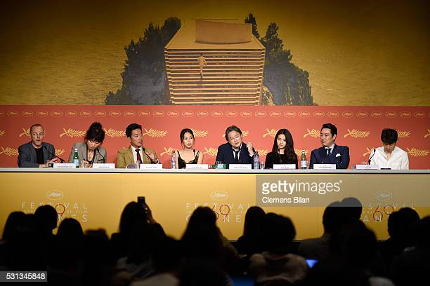 Actors Ha JungWoo Kim MinHee director Park ChanWook actors Kim TaeRi and Cho JinWoong attends The Handmaiden press conference during the 69th annual...