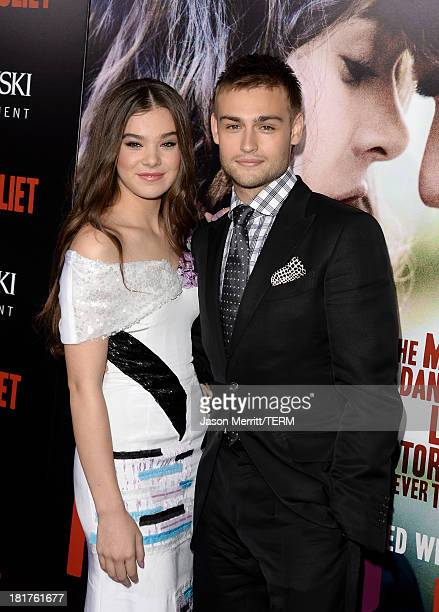 Actors Hailee Steinfeld and Douglas Booth arrive at the premiere of Relativity Media's 'Romeo Juliet' at ArcLight Hollywood on September 24 2013 in...