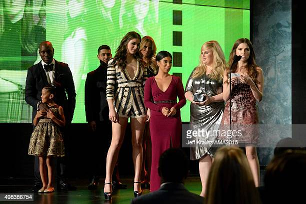 Actors Hailee Steinfeld Chrissie Fit Rebel Wilson and Anna Kendrick speak onstage during the 2015 American Music Awards at Microsoft Theater on...