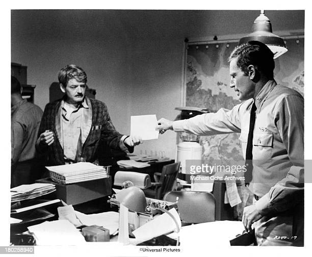 Actors Hal Holbrook and Charlton Heston on the set of Universal Studios movie Midway in 1976