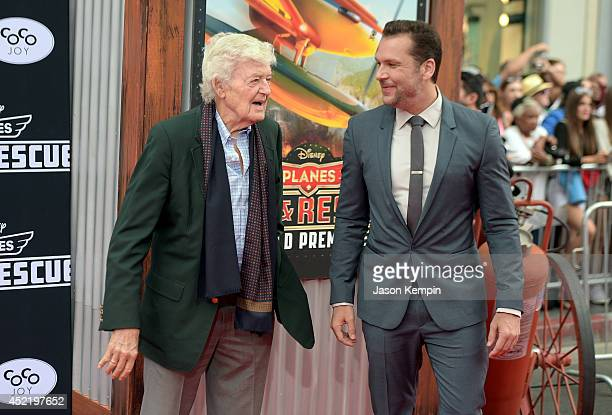 Actors Hal Holbrook and Dane Cook attend the premiere of Disney's 'Planes Fire Rescue' at the El Capitan Theatre on July 15 2014 in Hollywood...