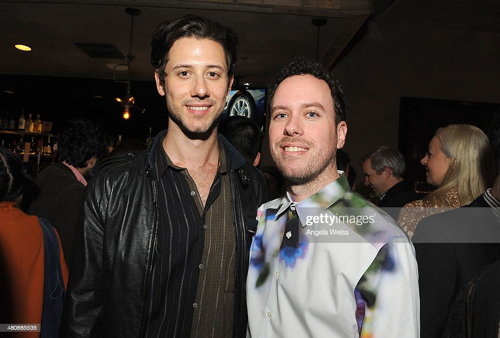Actors Hale Appleman and Carl Buchanan attend the premiere after party of A24's 'Under The Skin' at Umami Burger on March 25, 2014 in Los Angeles, California.