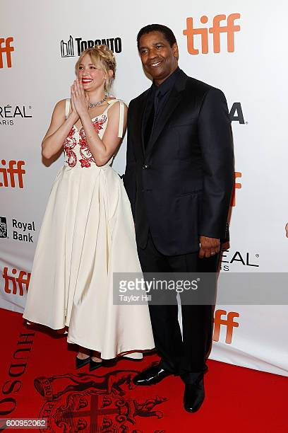 """Actors Haley Bennett and Denzel Washington attend the world premiere of """"The Magnificent Seven"""" during the 2016 Toronto International Film Festival..."""