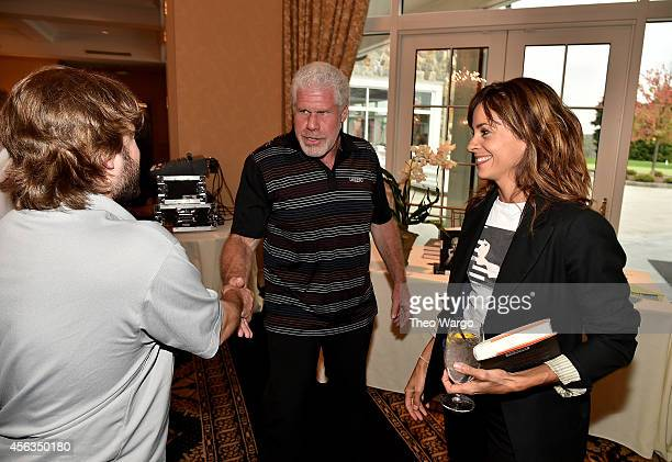 Actors Haley Joel Osment Ron Perlman and actress Stephanie Szostak attend Screen Actors Guild Foundation 2nd Annual New York Golf Classic at Trump...
