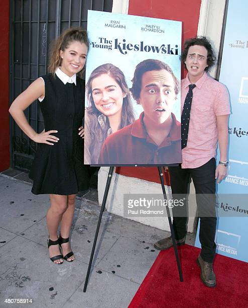 Actors Haley Lu Richardson and Ryan Malgarini attend the screening of Mance Media's 'The Young Kieslowski' at the Vista Theatre on July 14 2015 in...