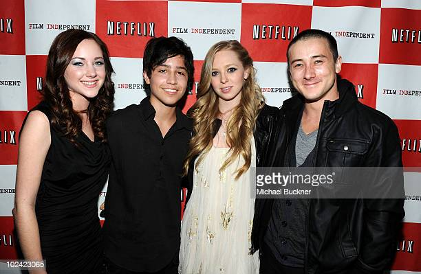 Actors Haley Ramm Lorenzo James Henrie Portia Doubleday and Alex Frost arrive at the premiere of 'The Wheeler Boys' during the 2010 Los Angeles Film...