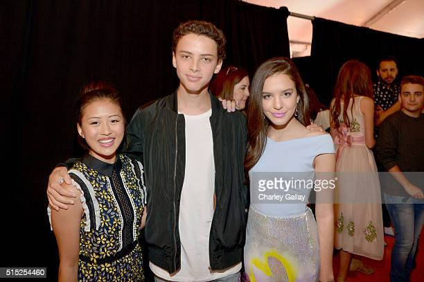Actors Haley Tju Jackie Radinsky and Lilimar attend Nickelodeon's 2016 Kids' Choice Awards at The Forum on March 12 2016 in Inglewood California