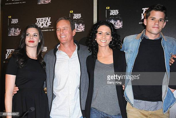 Actors Haley Webb Linden Ashby Melissa Ponzio and Max Carver attend the 20th Century Fox Home Entertainment and MTV Network Teen Wolf fan...