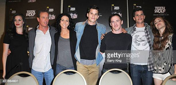 Actors Haley Webb Linden Ashby Melissa Ponzio Max Carver producer Jeff Davis actors Charlie Carver and Holland Roden attend the 20th Century Fox Home...