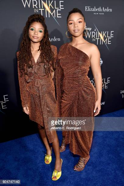 Actors Halle Bailey and Chloe Bailey arrive at the world premiere of Disney's 'A Wrinkle in Time' at the El Capitan Theatre in Hollywood CA Feburary...