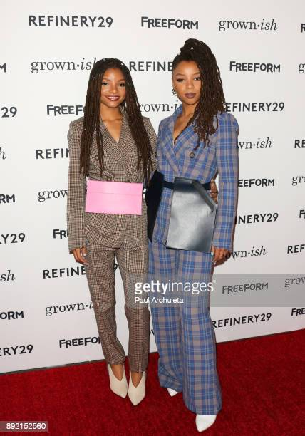 Actors Halle Bailey and Chloe Bailey attend the premiere of ABC's 'Grownish' on December 13 2017 in Hollywood California