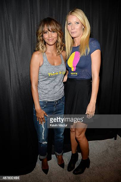 Actors Halle Berry and Gwyneth Paltrow attend the Think It Up education initiative telecast for teachers and students hosted by Entertainment...
