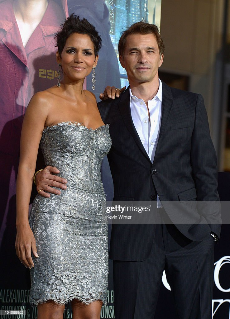 Actors Halle Berry and Olivier Martinez arrive at Warner Bros. Pictures' 'Cloud Atlas' premiere at Grauman's Chinese Theatre on October 24, 2012 in Hollywood, California.