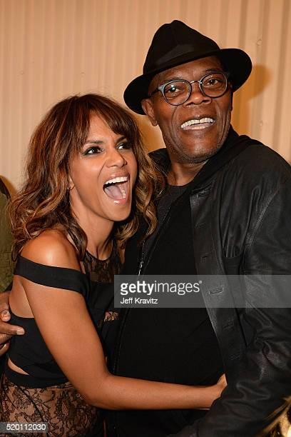 Actors Halle Berry and Samuel L Jackson attend the 2016 MTV Movie Awards at Warner Bros Studios on April 9 2016 in Burbank California MTV Movie...