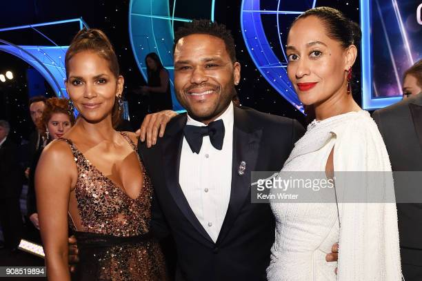 Actors Halle Berry Anthony Anderson and Tracee Ellis Ross attend the 24th Annual Screen Actors Guild Awards at The Shrine Auditorium on January 21...