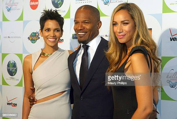 Actors Halle Berry Jamie Foxx and singer Leona Lewis arrive at 2010 Silver Rose gala and auction at the Beverly Hills Hotel on April 18 2010 in...