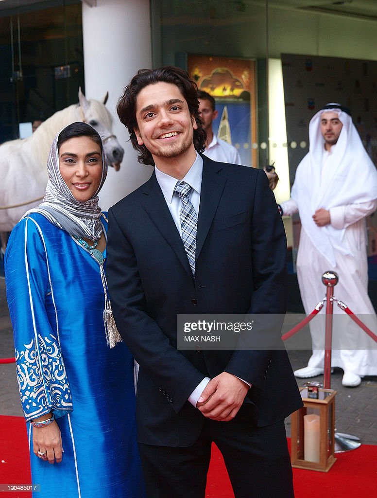 Actors Hamzah Jamjoon, right, and Namah Rawnab arrive to attend the Royal Premiere of their latest film Arabia 3D in London's South Bank, on May 24, 2010. AFP Photo/MAX