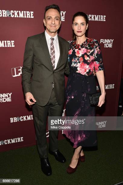 Actors Hank Azaria and Amanda Peet attend the Brockmire red carpet event at 40 / 40 Club on March 22 2017 in New York City