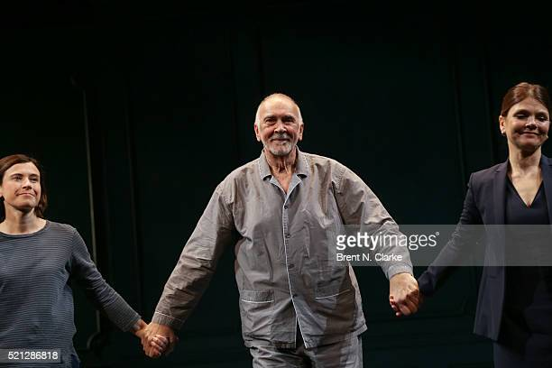 Actors Hannah Cabell Frank Langella and Kathryn Erbe participate in the curtain call following the opening night performance of The Father held at...