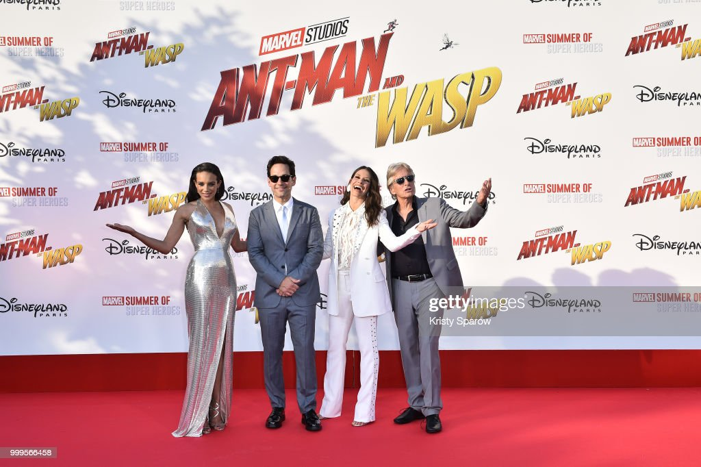 Actors Hannah John-Kamen, Paul Rudd, Evangeline Lilly and Michael Douglas attend the European Premiere of Marvel Studios 'Ant-Man And The Wasp' at Disneyland Paris on July 14, 2018 in Paris, France