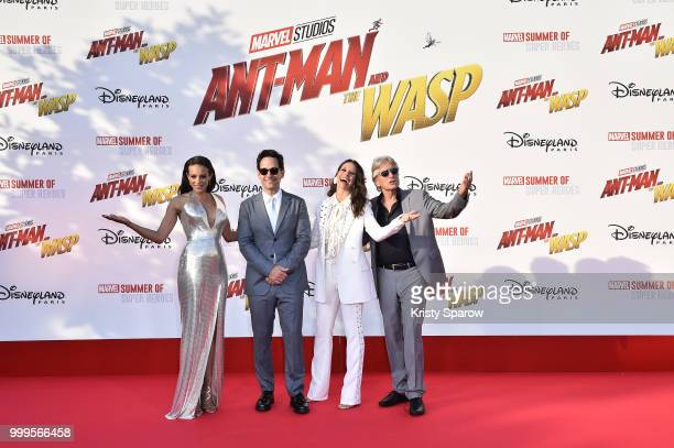 Actors Hannah JohnKamen Paul Rudd Evangeline Lilly and Michael Douglas attend the European Premiere of Marvel Studios 'AntMan And The Wasp' at...