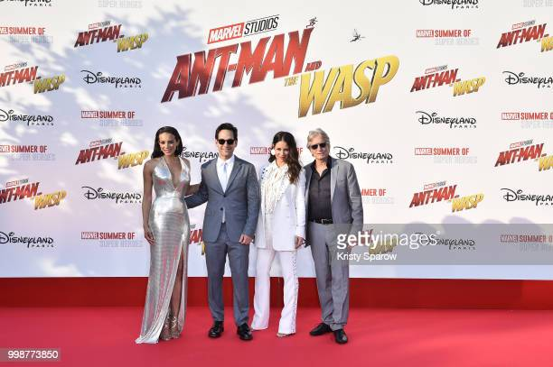 Actors Hannah JohnKamen Paul Rudd Evangeline Lilly Michael Douglas attend the European Premiere of Marvel Studios 'AntMan And The Wasp' at Disneyland...