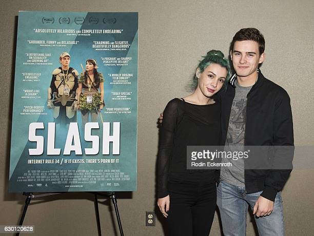 Actors Hannah Marks and Michael Johnston attend premiere of Gravitas Ventures' 'Slash' at Laemmle NoHo 7 on December 16 2016 in North Hollywood...