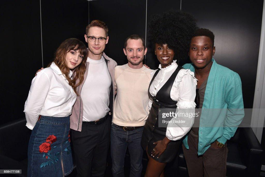 Actors Hannah Marks, Sam Barnett, Elijah Wood, Jade Eshete and Mpho Koaho attend the FANDOM Fest during New York Comic Con on October 6, 2017 in New York City.