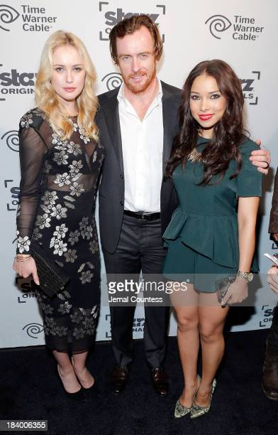 Actors Hannah New Toby Stephens and Jessica Parker Kennedy of the show 'Black Sails' attend the Starz Sleep No More Event at The McKittrick Hotel on...