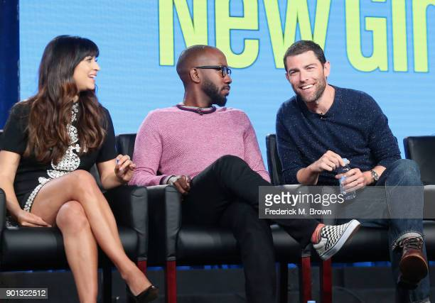 Actors Hannah Simone, Lamorne Morris and Max Greenfield of the television show New Girl speak onstage during the FOX portion of the 2018 Winter...