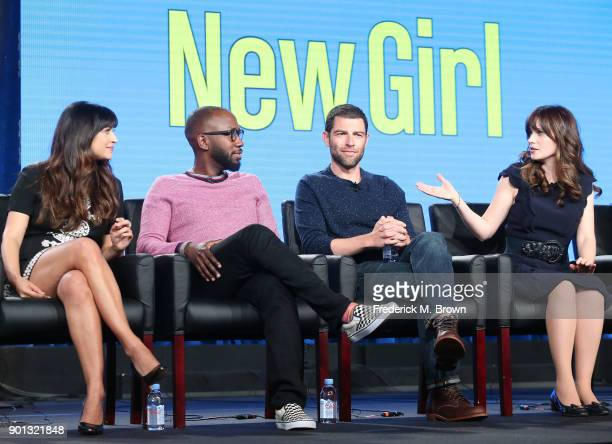 Actors Hannah Simone, Lamorne Morris, Max Greenfield and Zooey Deschanel of the television show New Girl speaks onstage during the FOX portion of the...