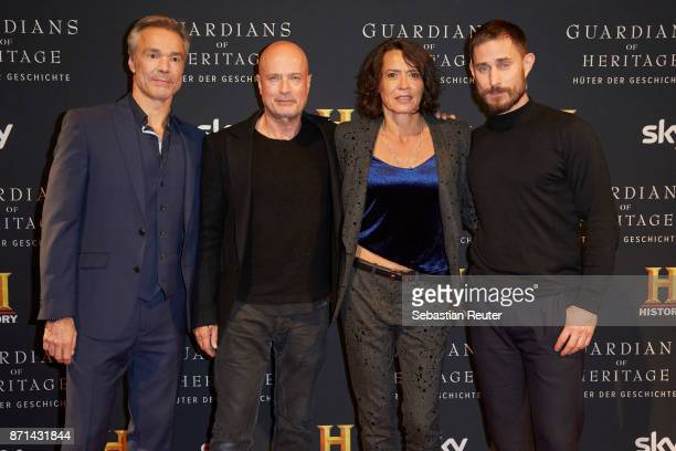 Actors Hannes Jaenicke Christian Berkel Ulrike Folkerts and Clemens Schick attend the preview screening of the new documentary 'Guardians of Heritage...