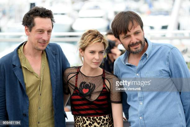 Actors Hans Loew Elena Radonicich and director Ulrich Koehler attend the photocall for 'In My Room' during the 71st annual Cannes Film Festival at...