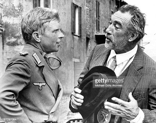 Actors Hardy Krnger and Anthony Quinn on set of the United Artist movie 'The Secret of Santa Vittoria' in 1969