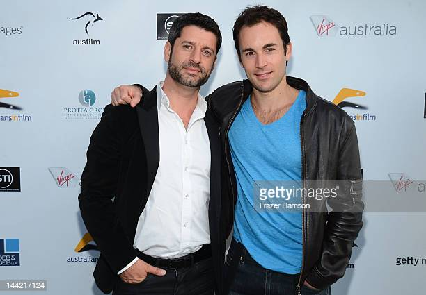 Actors Harli Ames and Andrew Bongiorno attend Australians In Film Screening and USA premiere of Myriad Pictures' The Cup at Laemmle's Music Hall 3 on...