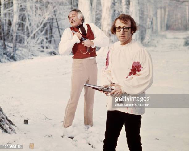 Actors Harold Gould and Woody Allen in the duel scene from the film 'Love And Death' 1975
