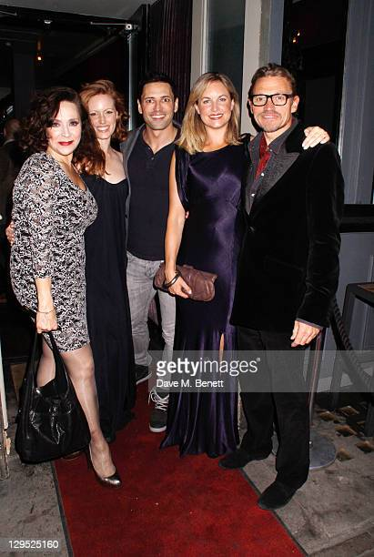 Actors Harriet Thorpe Clare FosterSean Palmer Kim Medcalf and Michael McKell attend an after party following the 'Crazy For You' press night at the...