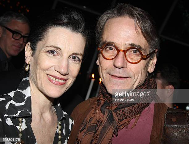 Actors Harriet Walter and Jeremy Irons attend the after party for opening night of the Broadway production of Mary Stuart at Tavern on the Green...